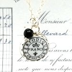 French Periodiques Postmark Charm Pendant Necklace