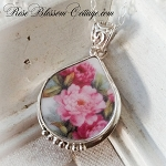 Pink Flowers Graceful Tear Drop Sterling Broken China Jewelry Necklace
