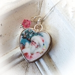 BESTSELLER Pink Santa Sterling Broken China Jewelry  Charm or Necklace