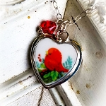 Red Bird Christmas Xmas Broken China Jewelry Heart Charm Necklace