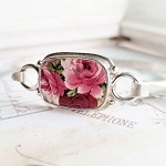 Red & Pink Roses Broken China Jewelry Sterling Tension Bangle Bracelet