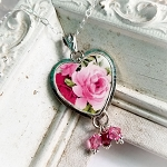 Red Pink Broken China Jewelry Heart Swarovski Crystals Pendant Necklace