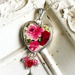 Red Pink Broken China Jewelry Heart Swarovski Crystals Pendant Necklace 2