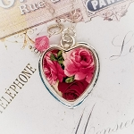 Red & Pink Roses Sterling Broken China Jewelry Medium Charm or Pendant
