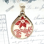 Red & White Royal Staffordshire Clarice Cliff Tonquin Fat Teardrop Broken China Jewelry Pendant Necklace