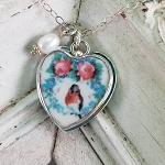 Shabby Robin in Wreath of Roses Broken China Jewelry Sterling Heart Crystal Pendant