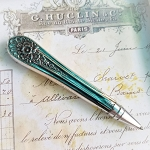 Silverplate Vintage Desk Pen Knife Handle Ornate Writing Pen