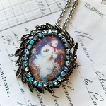 Snowman Cameo Crystals Costume Jewelry Pin/Pendant Necklace