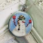 Winter Red Gloved Hugging Snowman Large Broken China Jewelry Pendant Necklace