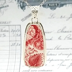 Strawberry Fair Johnson Bros. England Red White Transferware Vintage  Pendant Necklace