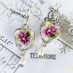 Sweet Violets Royal Albert Bone China Broken China Jewelry Earrings