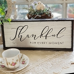 Chic Distressed Wood Sign Thankful Moment