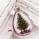 Christmas Tree and Presents Teardrop Broken China Sterling Pendant Necklace