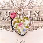 Pink Rose Scroll Vintage Broken China Jewelry Heart Charm Necklace