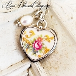 Vintage Pink Rose Gold Rope Design Broken China Jewelry Charm Pendant Necklace