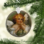 Sweet Winged Angel Porcelain Christmas Ornament Xmas