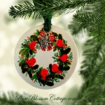 Red Birds Wreath Porcelain Christmas Ornament Xmas