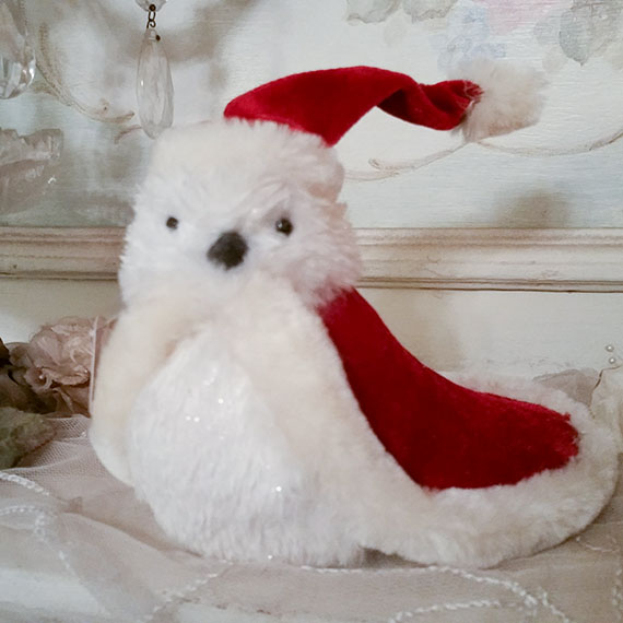 Cheery White Christmas Bird in Red Cape