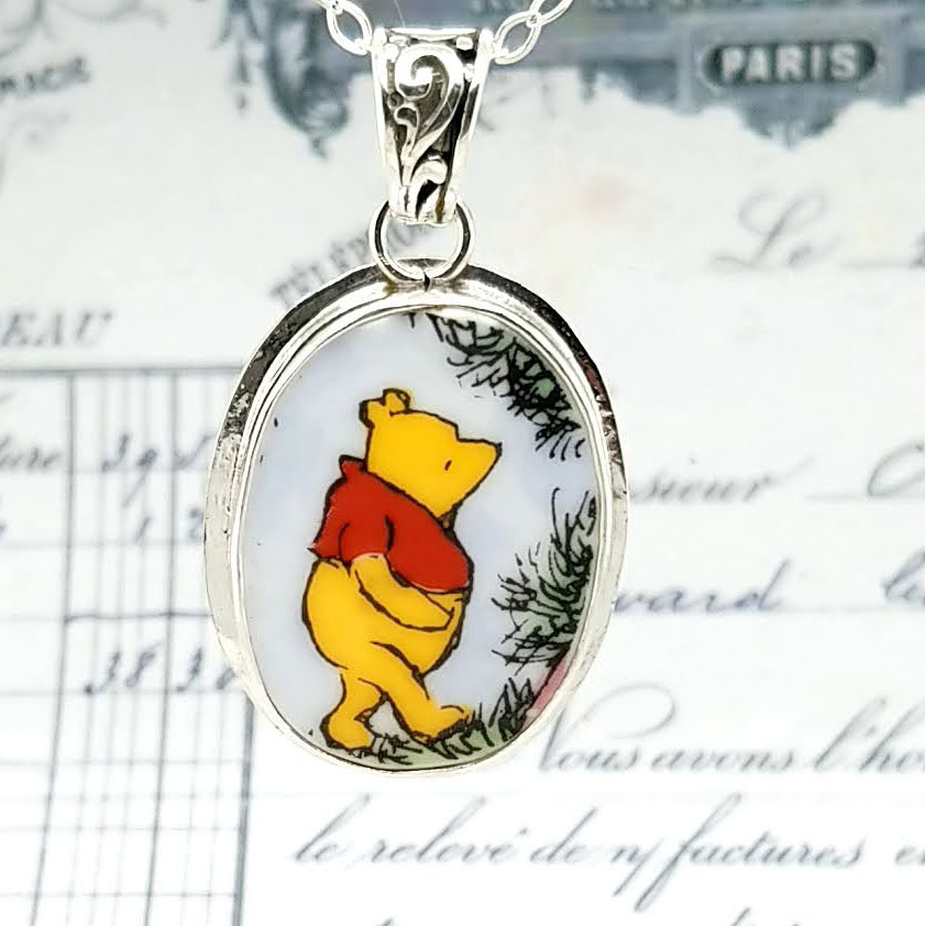 Winnie The Pooh Oval Broken China Jewelry Royal Doulton Pendant Necklace