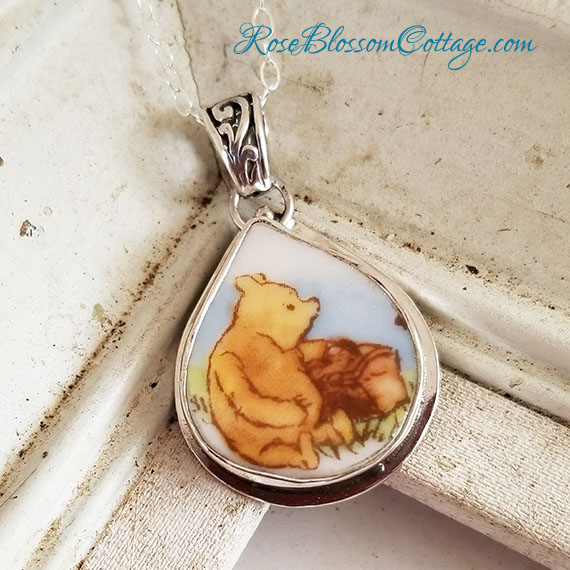 Winnie The Pooh Sitting Broken China Jewelry Royal Doulton Pendant Necklace